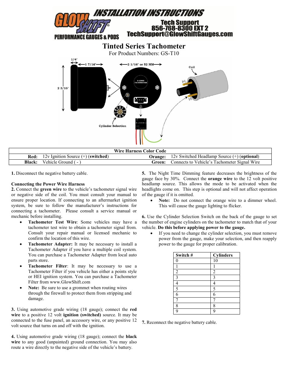 Glowshift 2 tachometer gauge user manual 2 pages sciox Images