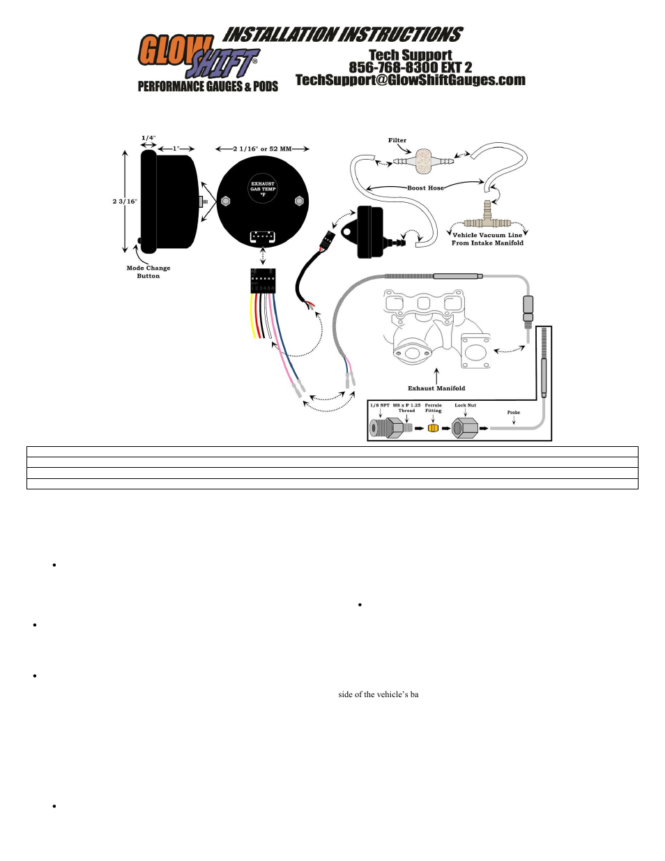 glowshift boost  u0026 egt combo gauge user manual