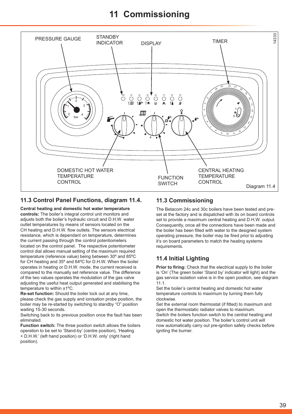 11 commissioning, 3 control panel functions, diagram 11.4, 3 ...