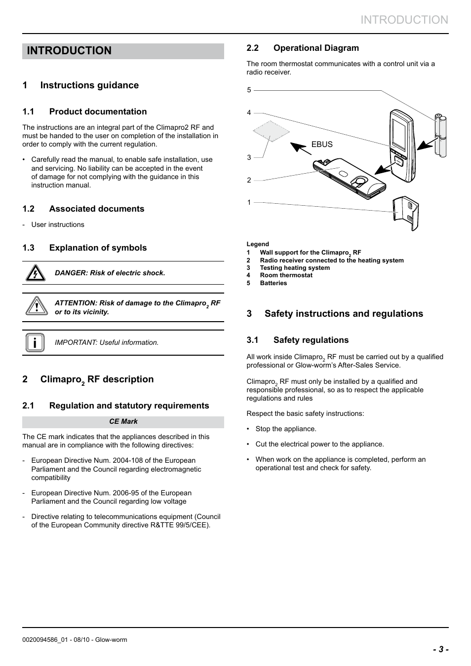 Introduction, 1 instructions guidance, 2 climapro | Glow-worm ...