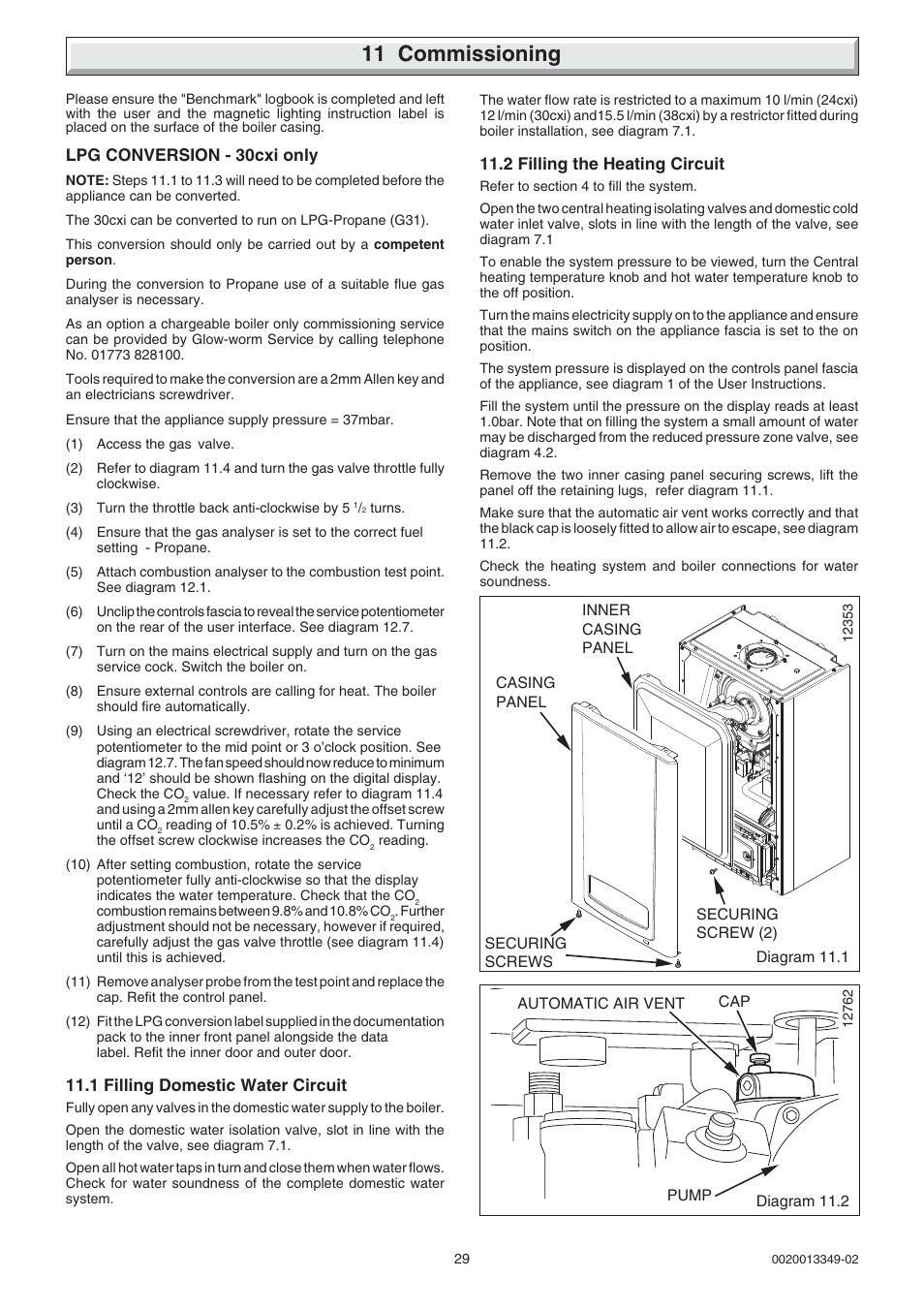 11 commissioning | Glow-worm cxi and Gas Valve User Manual | Page 29 ...