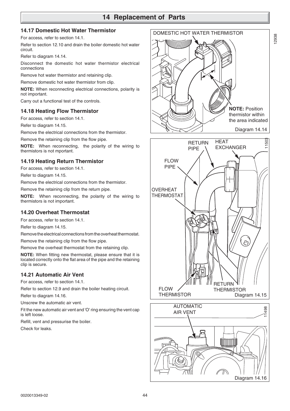 14 Replacement Of Parts Glow Worm Cxi And Gas Valve User Manual Water Wiring Diagram Page 44 56