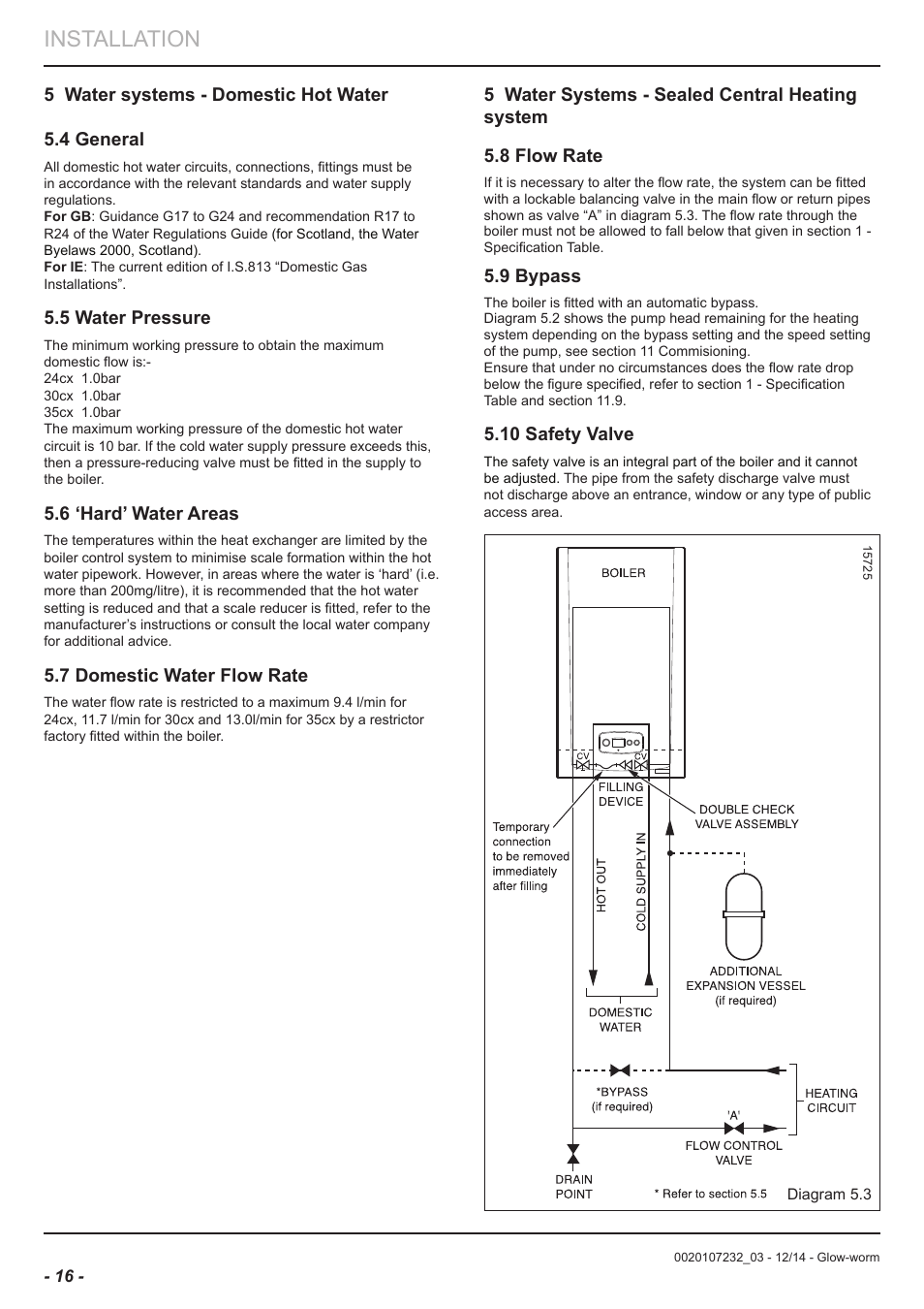 Installation, 5 water systems - domestic hot water 5.4 general, 5 ...