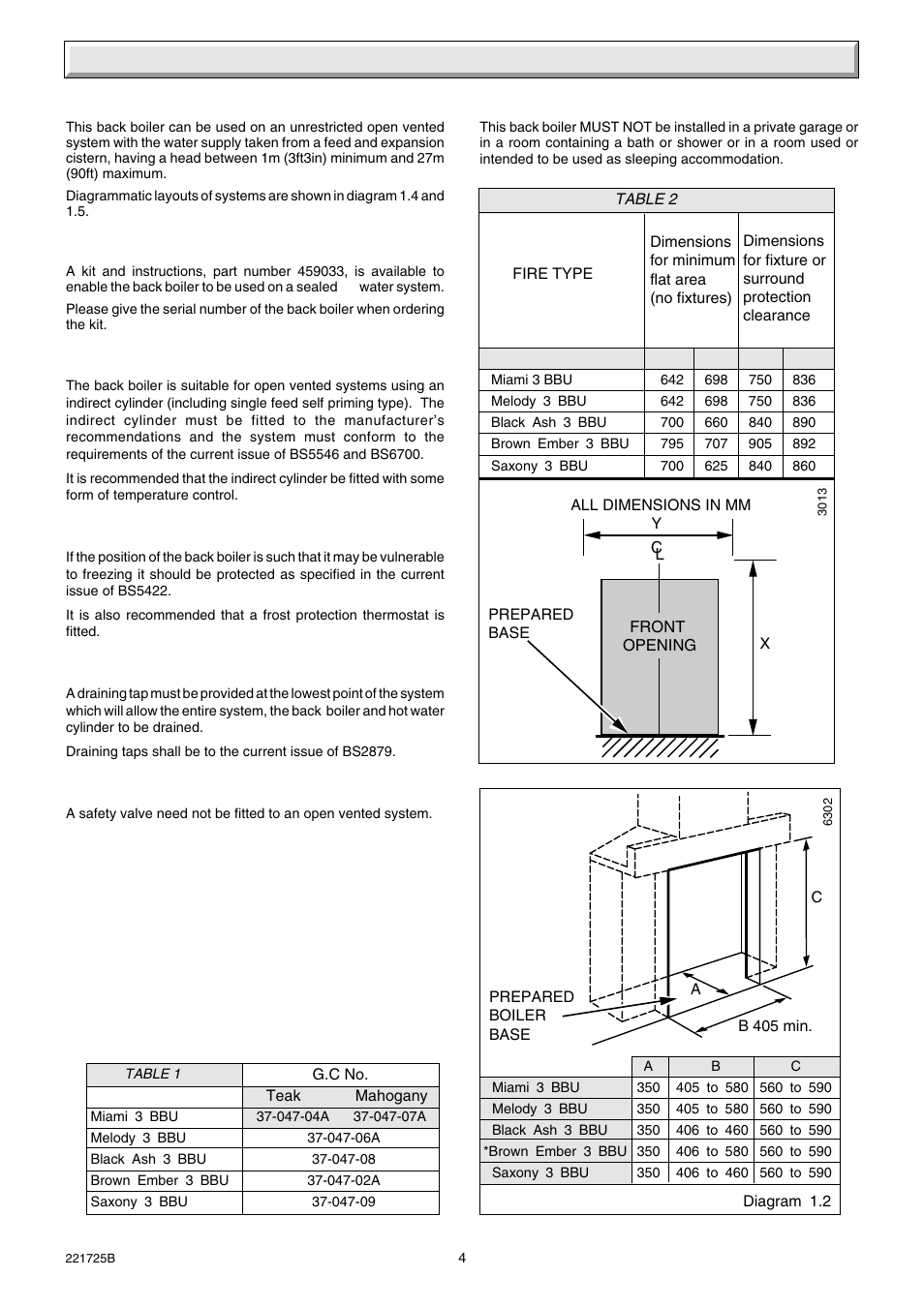 1 general | Glow-worm 56/3e Back Boiler User Manual | Page 4 / 32