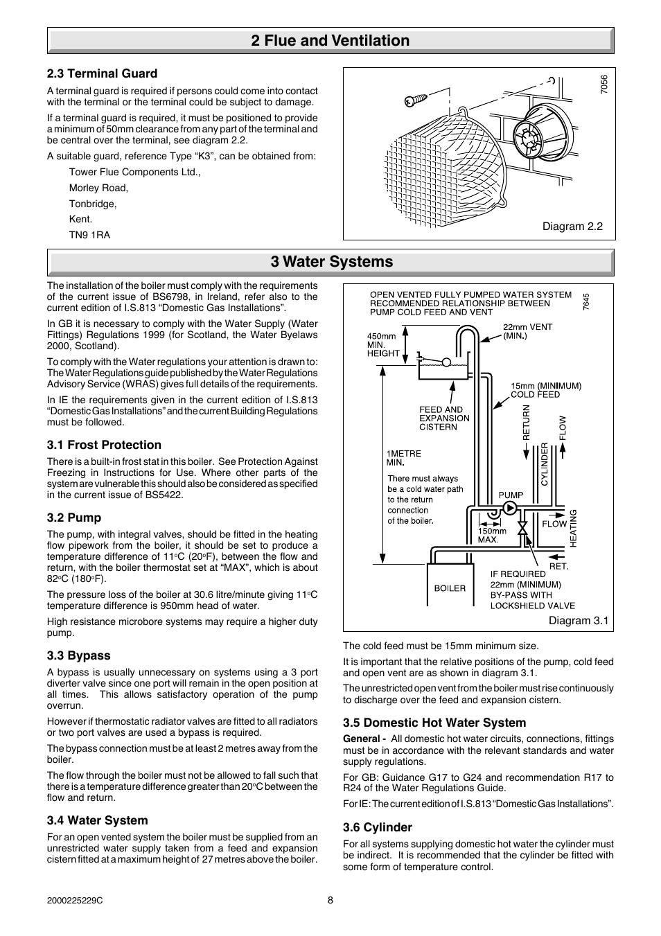 2 flue and ventilation 3 water systems | Glow-worm Micron 70FF User ...