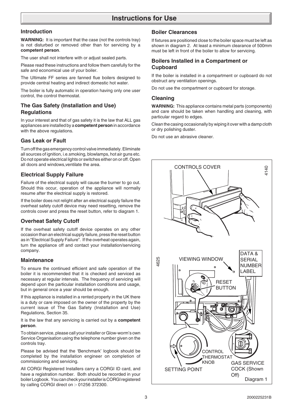 Instructions for use | Glow-worm Ultimate 40FF User Manual | Page 3 ...