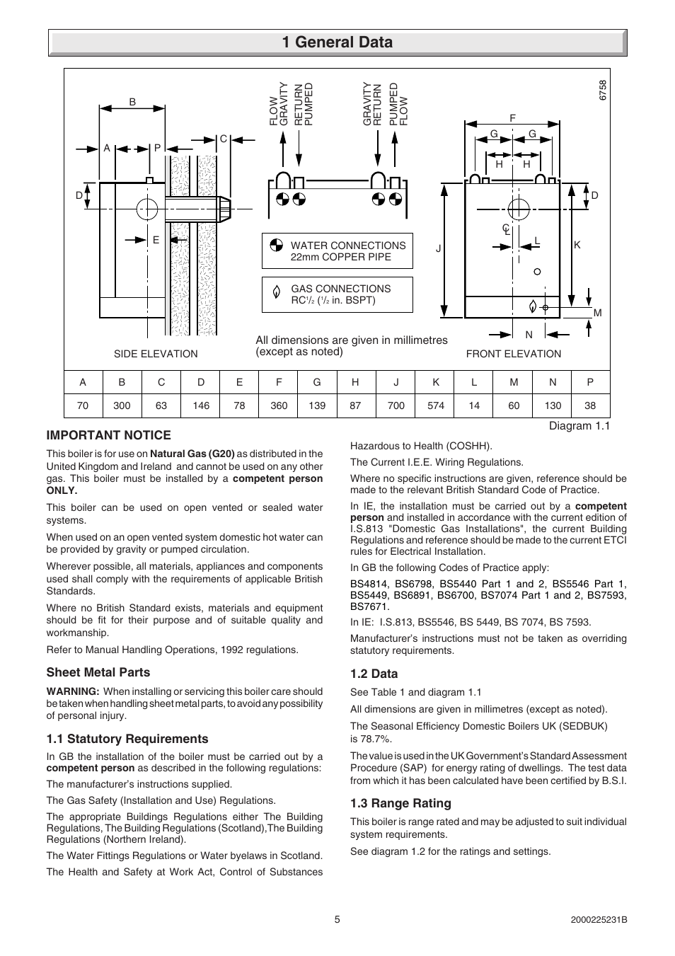 1 general data | Glow-worm Ultimate 40FF User Manual | Page 5 / 40 ...