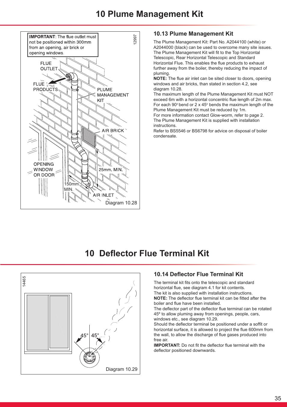 10 plume management kit, 10 deflector flue terminal kit, 13 plume ...
