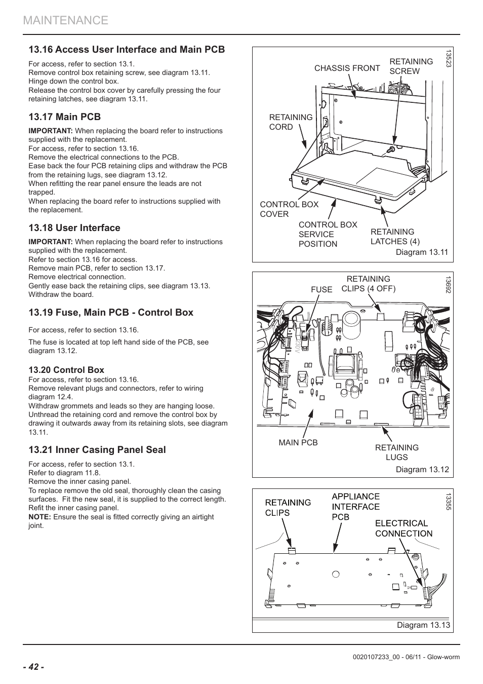 Maintenance 16 Access User Interface And Main Pcb 17 Wiring Diagram Grommets Clips Glow Worm Ultracom Hxi Manual Page 42 48