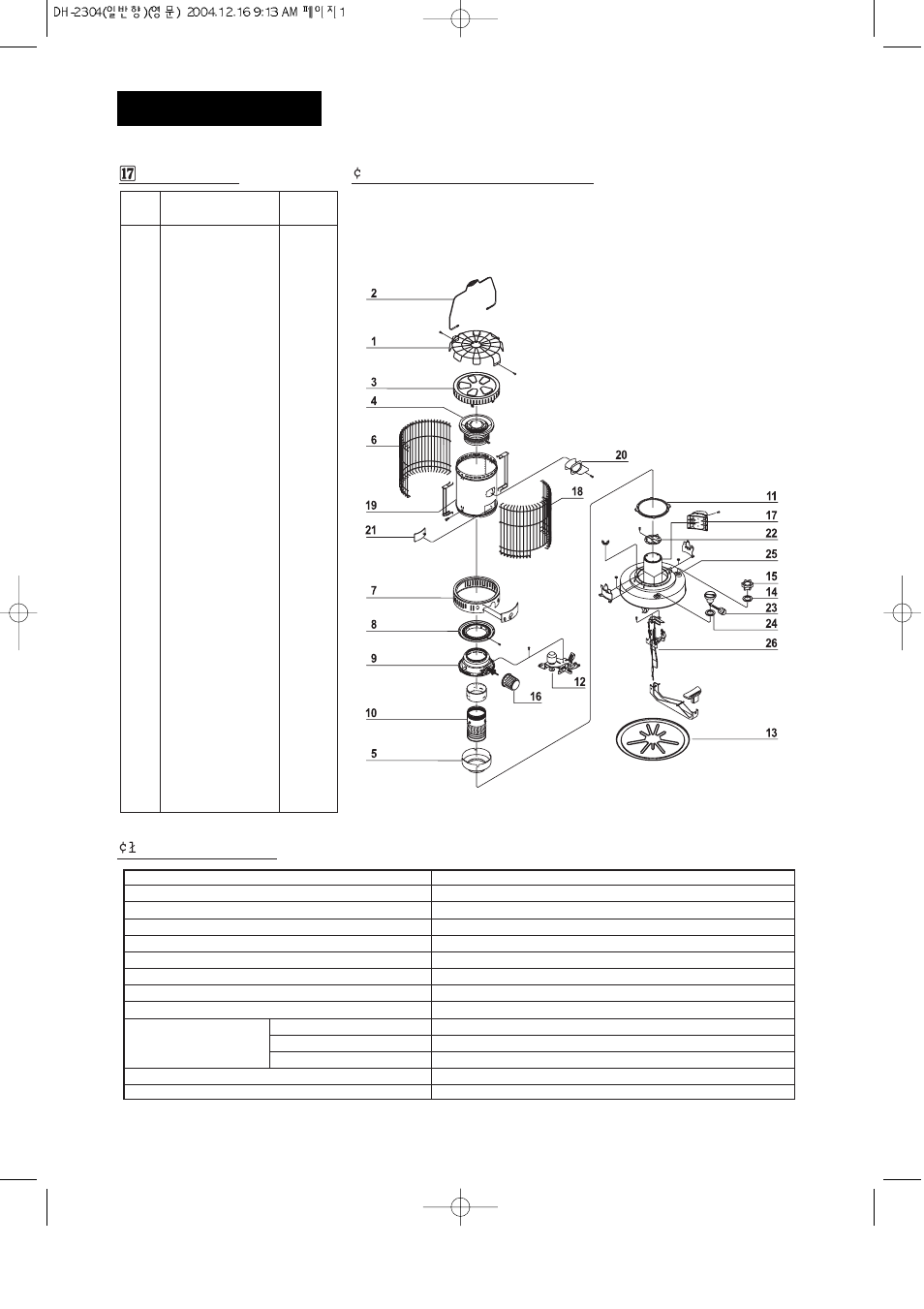 Parts List  U00a2 Exploded Parts Drawing   U0141 Specifications