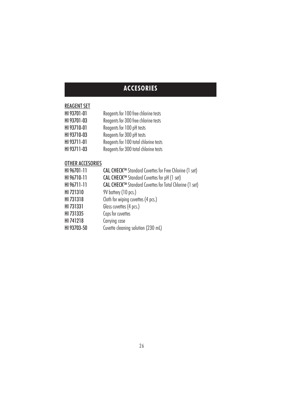 Accesories | Hanna Instruments HI 96710 User Manual | Page 26 / 28