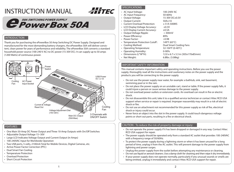 HITEC ePowerbox 50-amp Power Supply User Manual | 2 pages