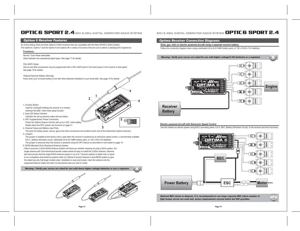 Hitec Optic 6 Sport 24 User Manual Page 8 30 Regulator To Provide The Bec Battery Eliminator Circuit Function