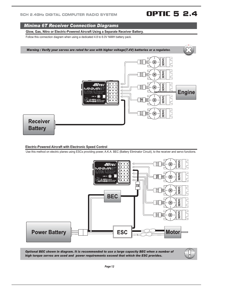 Minima 6t Receiver Connection Diagrams Hitec Optic 5 24 User Servo Wiring Diagram Manual Page 13