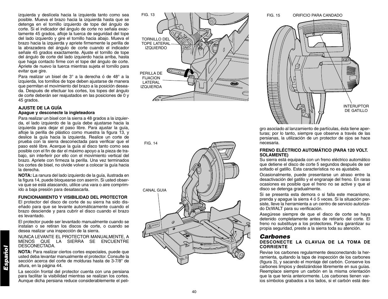 "DeWalt 12"" COMPOUND MITER SAW DW705 User Manual | Page 42 / 52"