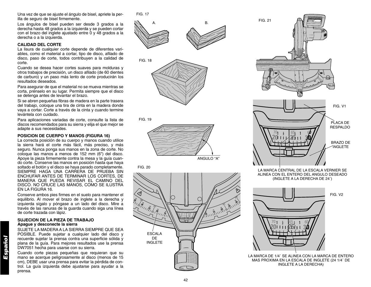 "Español | DeWalt 12"" COMPOUND MITER SAW DW705 User Manual | Page 44 / 52"