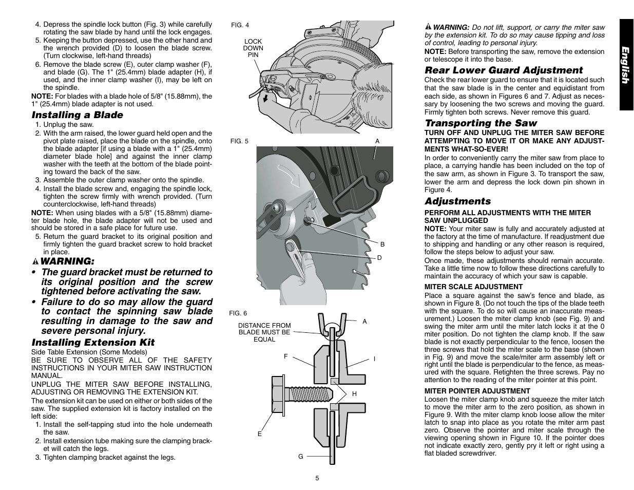 Dewalt 12 Compound Miter Saw Dw705 User Manual Page 7 52