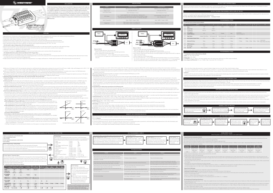 Hobbywing Platinum-50A-V3 User Manual   1 page   Also for ...