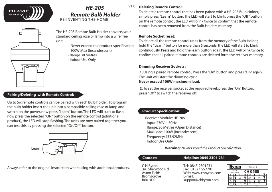 Home Easy He205 User Manual 1 Page