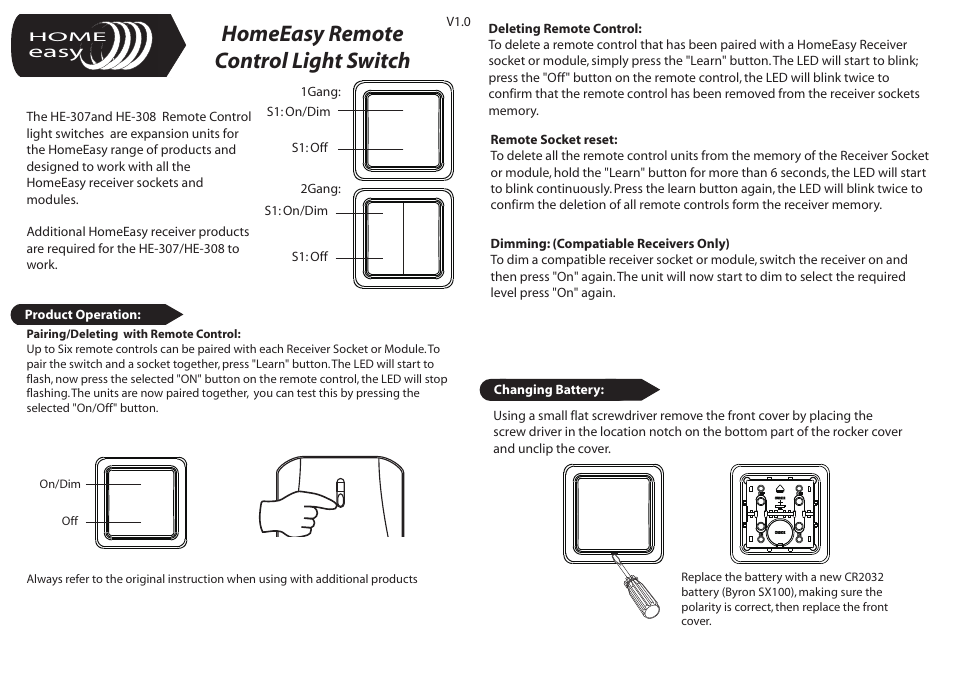 Home Easy He307 User Manual 2 Pages