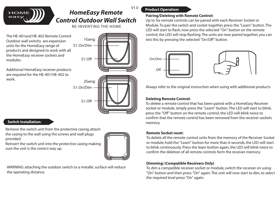 Home Easy He402 User Manual 2 Pages Also For He401
