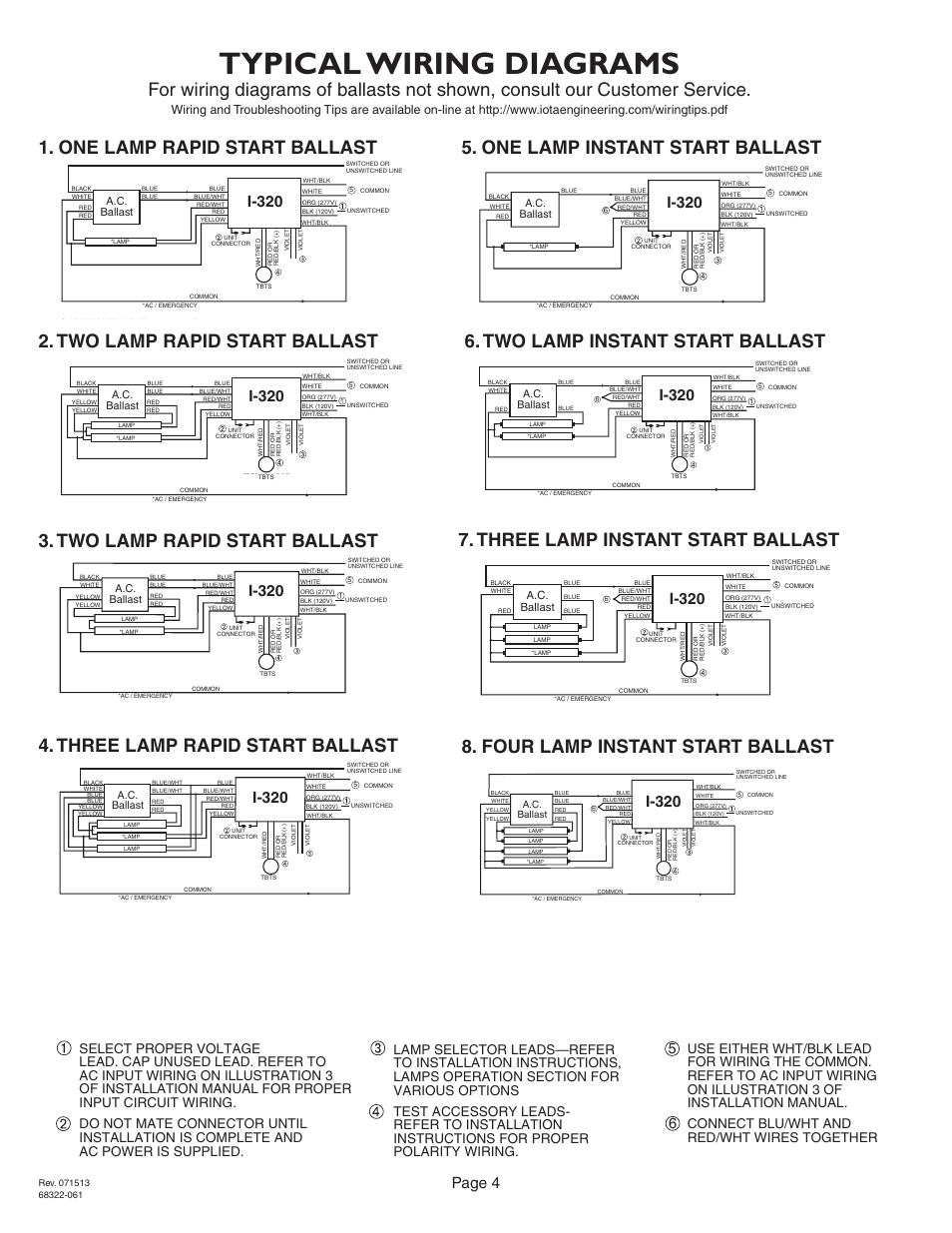 iota i 320 page4 typical wiring diagrams, page 4, i 320 iota i 320 user manual rapid start ballast wiring diagram at eliteediting.co