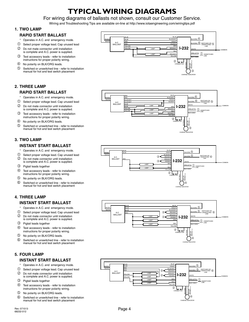iota i 232 page4 typical wiring diagrams, page 4, i 232 iota i 232 user manual emergency ballast wiring diagram at bayanpartner.co
