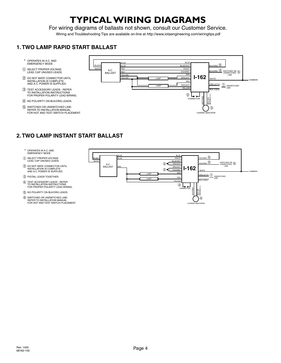 Ballast Wiring With Two Hots Trusted Schematics Diagram T12 2 Typical Diagrams Page 4 Iota I 162 User Manual Ge