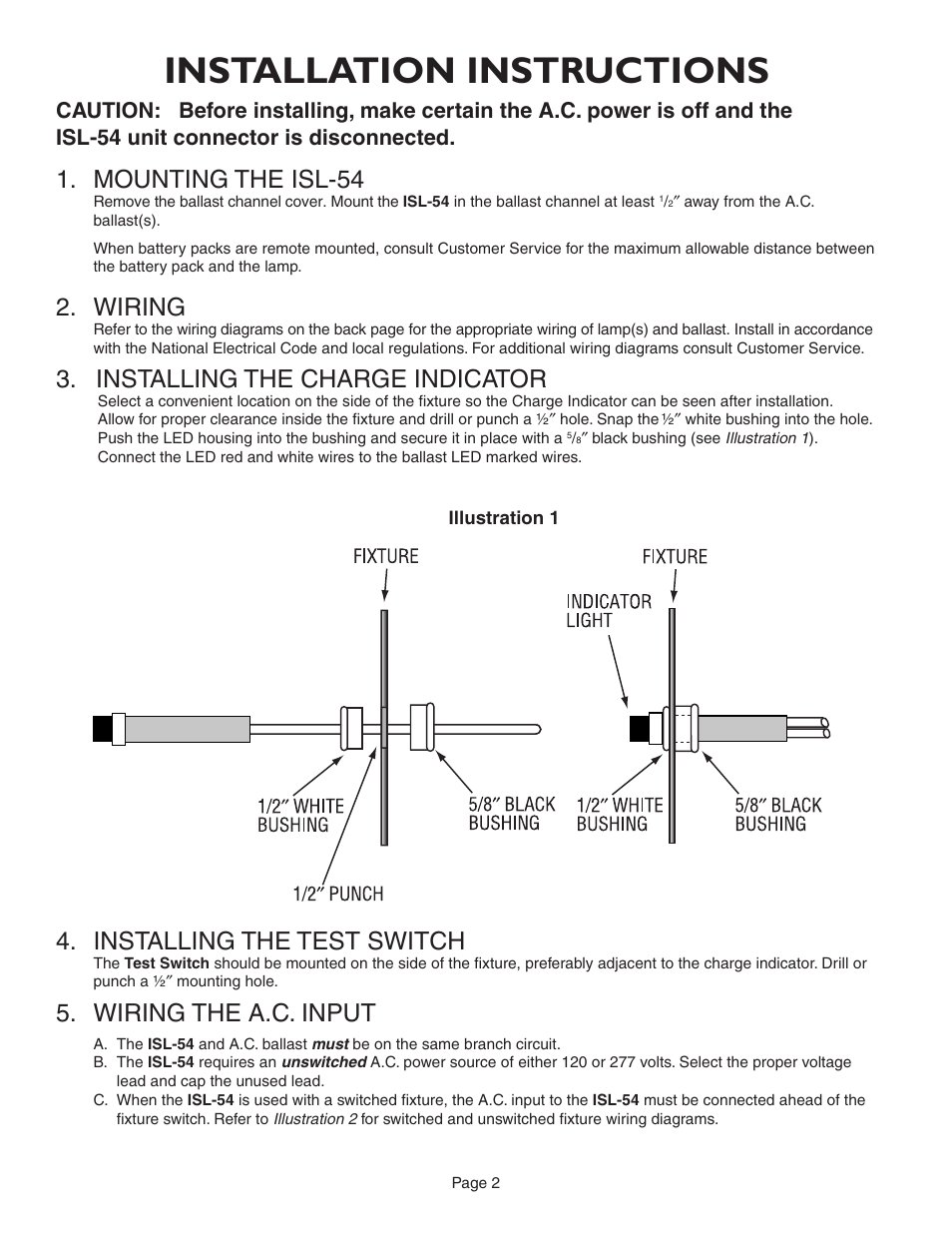 Installation Instructions Mounting The Isl 54 Wiring Iota Light Fixture 2 White Black Installing Charge Indicator