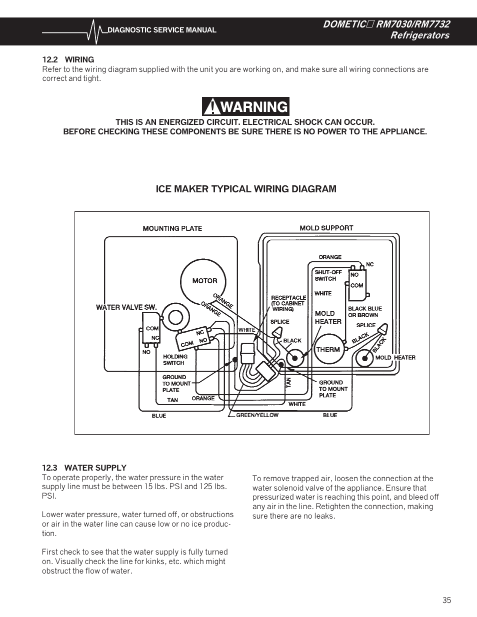Uline Ice Maker Wiring Diagram : Wiring water supply dometic rm user manual