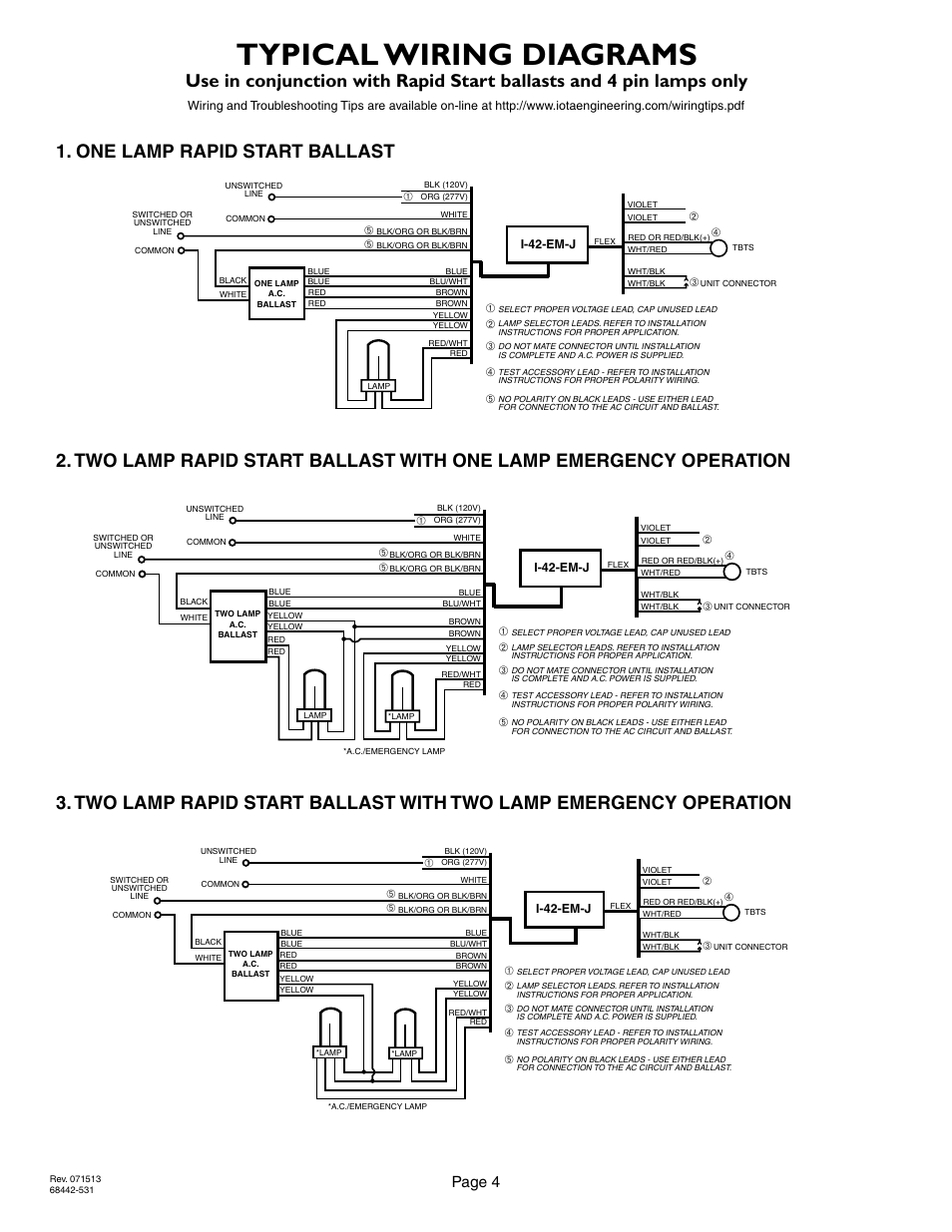 rapid start ballast wiring diagram rapid image typical wiring diagrams page 4 2lrsb42j ac two lamp rapid start on rapid start ballast wiring