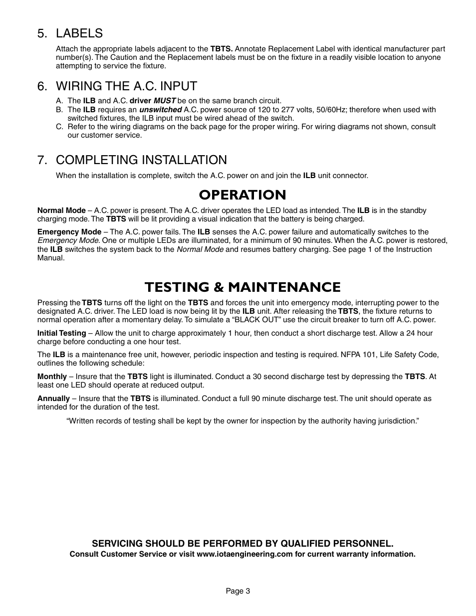 Operation Testing Maintenance Labels Iota Ilb Cp12 User Manual Wiring Number Page 3 5