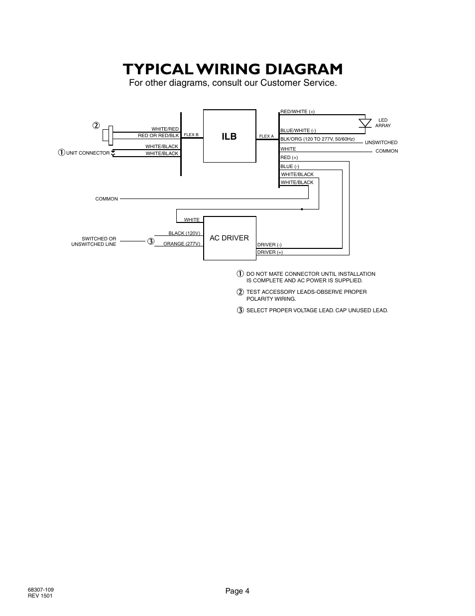 Typical Wiring Diagram For Other Diagrams Consult Our Customer Led Array Service Ilb Iota Cp12 User Manual Page 4 5