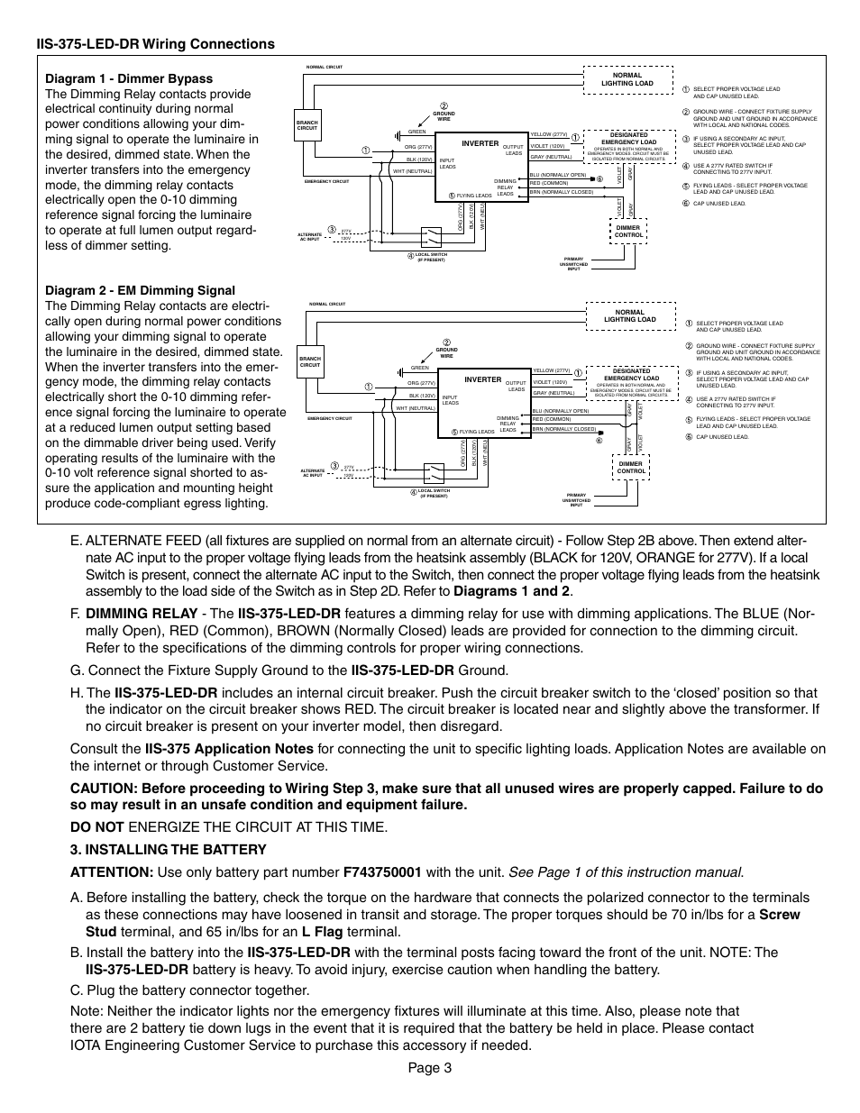 Iis 375 Led Dr Wiring Connections Iota User Manual Three Lead Diagram Page 3 4