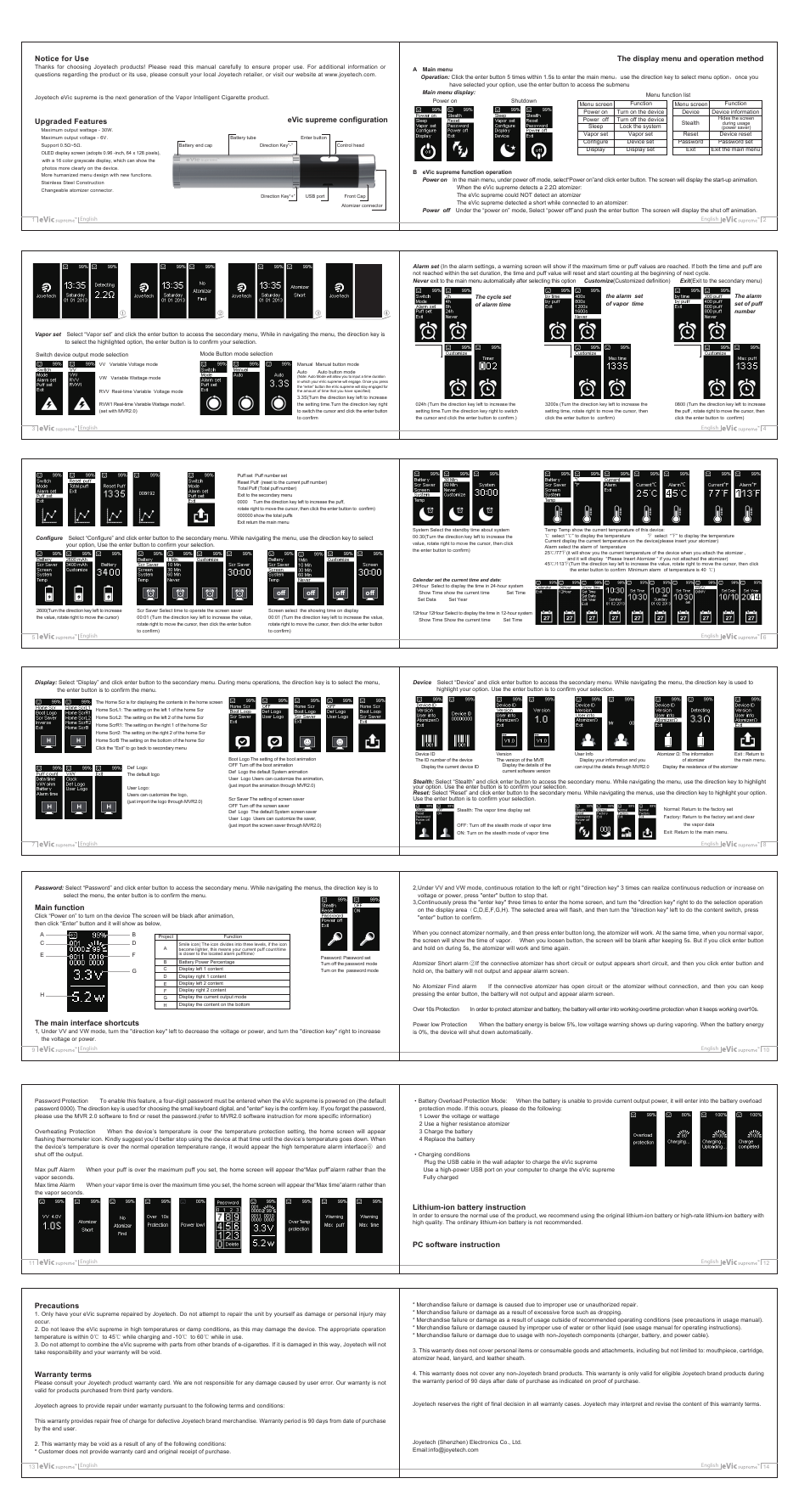 Joyetech eVic supreme User Manual | 9 pages