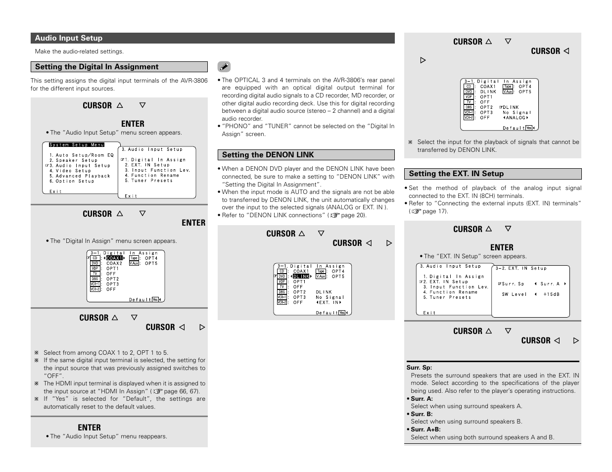 Denon AVR-3806 User Manual | Page 68 / 142