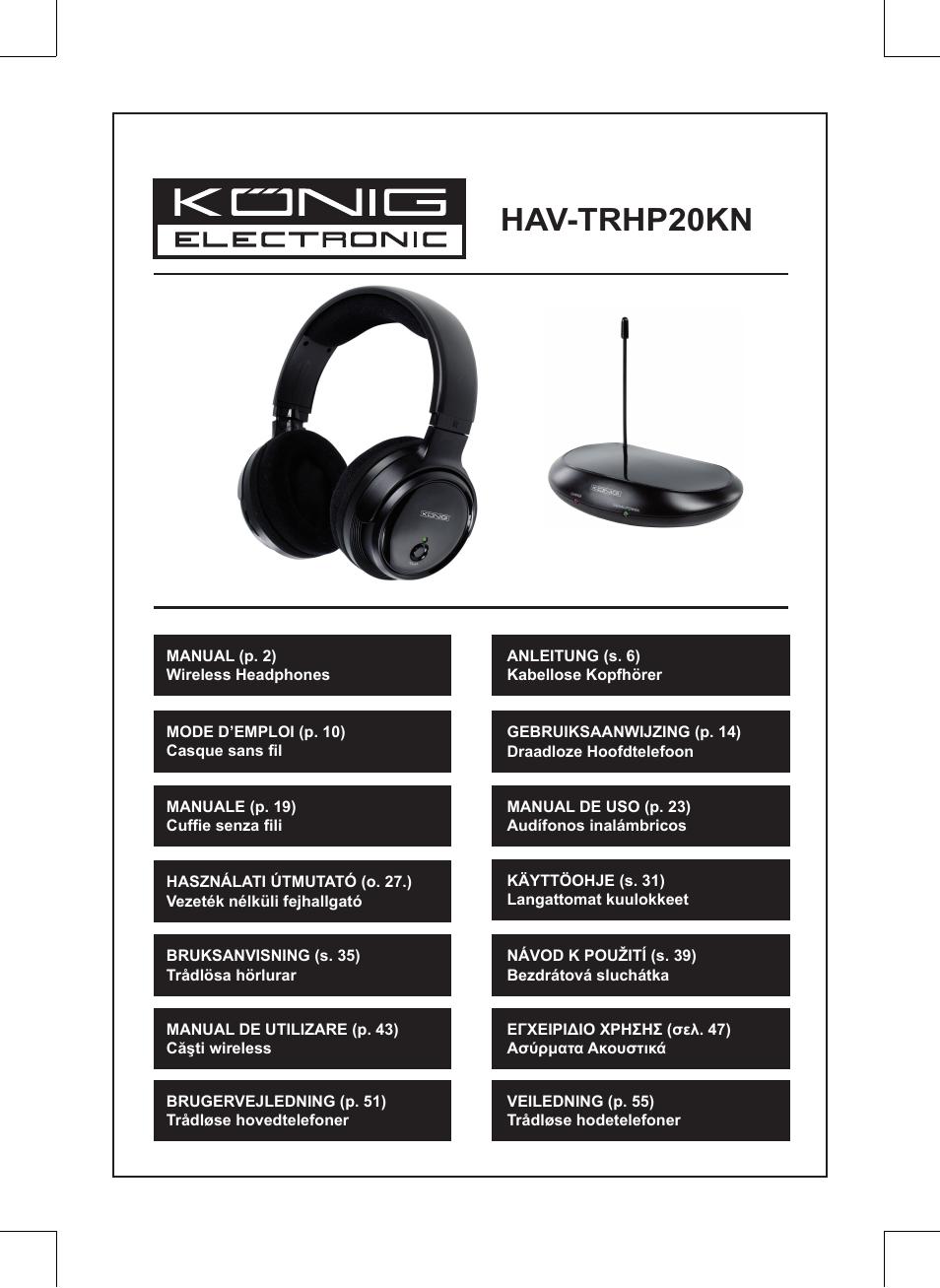 Konig Electronic Wireless headphones 863 Mhz User Manual  0fc49e7406