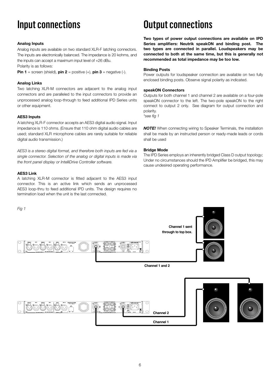 Input Connections Output Labgruppen Ipd 2400 User Xlr Wiring With Shield Connected To Pin One Manual Page 6 52