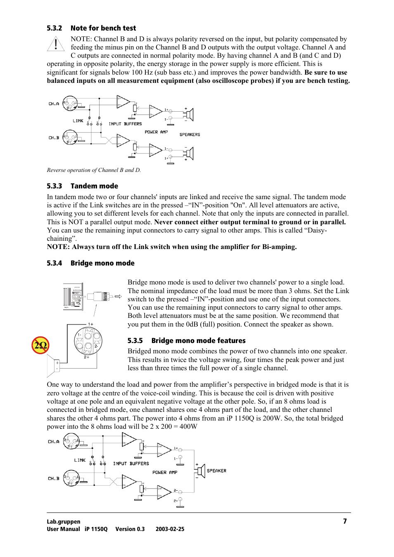 Note for bench test, Tandem mode, Bridge mono mode | Lab gruppen iP