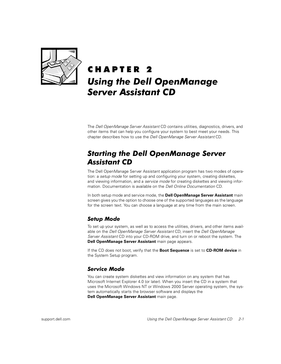 Using the dell openmanage server assistant cd, Starting the