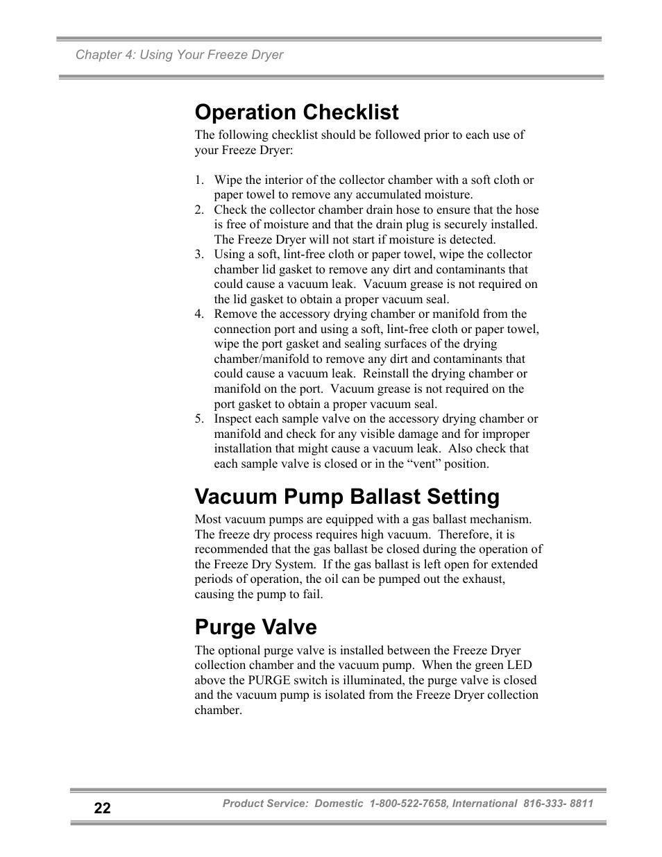 Operation checklist, Vacuum pump ballast setting, Purge