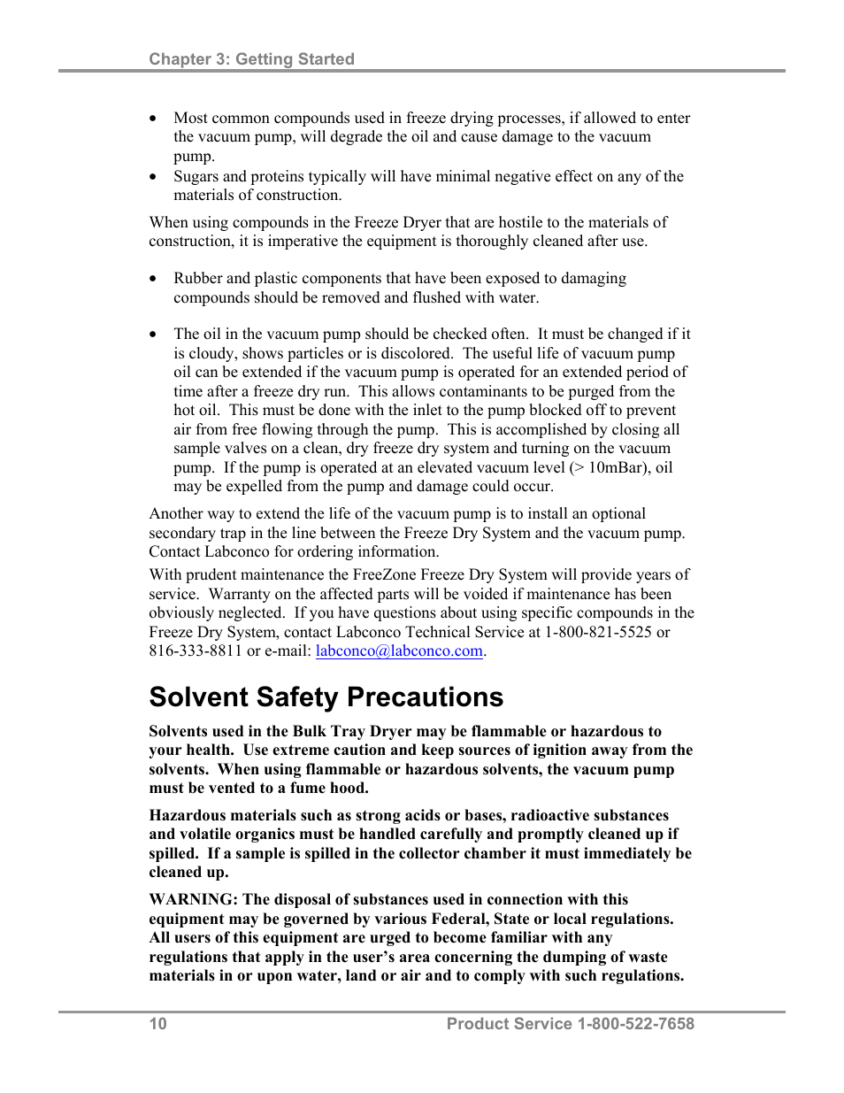 Solvent safety precautions | Labconco FreeZone Bulk Tray