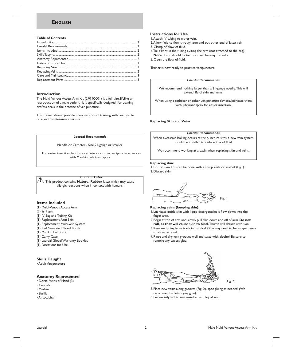 laerdal multi venous iv training arms user manual page 2 3 rh manualsdir com Legal Practice Manuals Alcatel Tracfone Manual