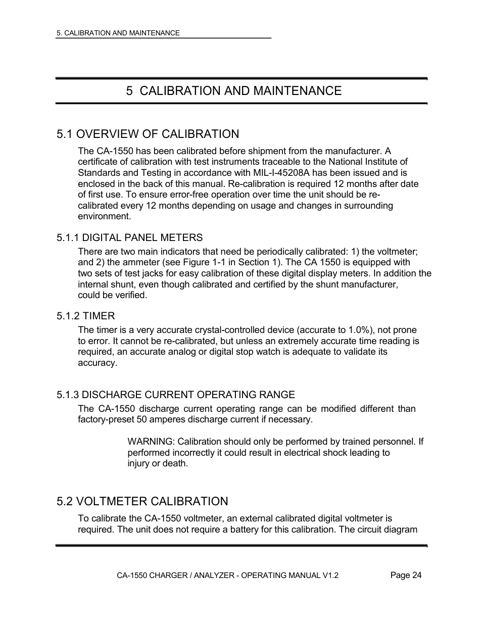 5 Calibration And Maintenance 1 Overview Of 2 Digital Voltmeter Ammeter Wiring Diagram Lamar Technologies Ca 1550 User Manual Page 26 41