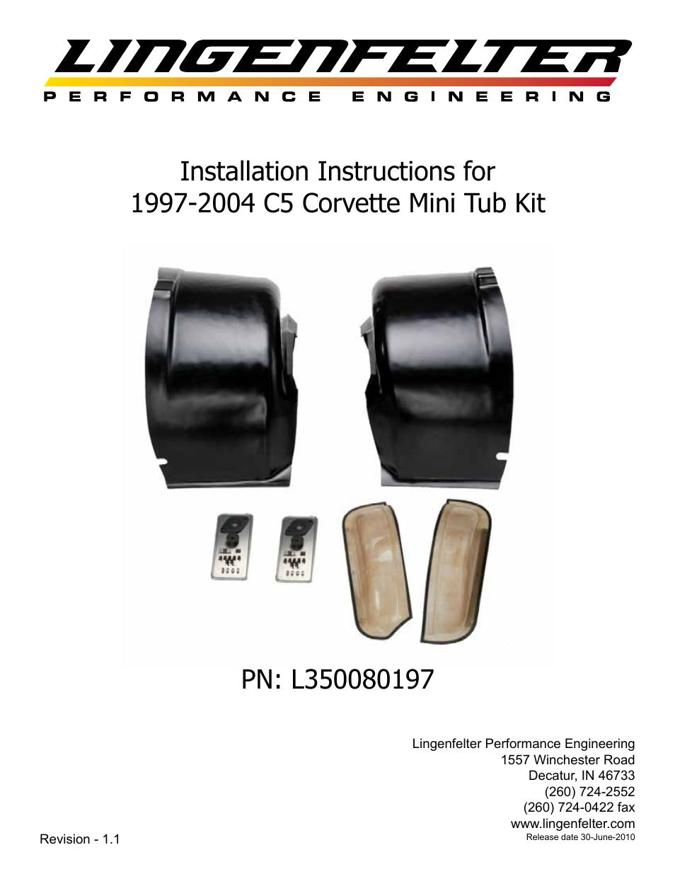 Lingenfelter L350080197 Lingenfelter C5 Corvette Mini Tub Kit User ...
