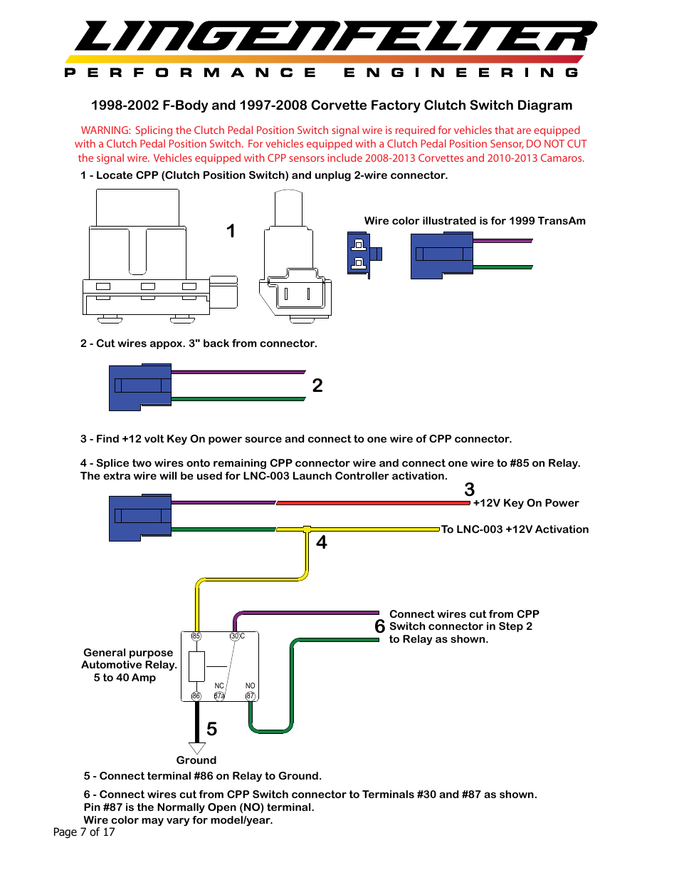 Lingenfelter L460105297 Lingenfelter LNC-003 Dual RPM Launch Controller  v2.7 User Manual | Page 8 / 18