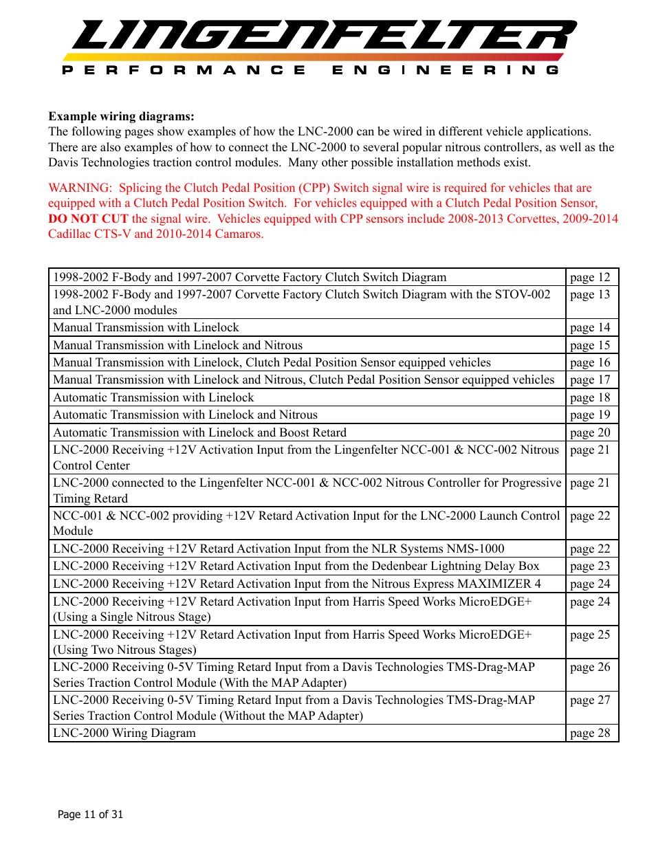 lingenfelter l460145297 lingenfelter lnc-2000 ls timing retard launch  controller v2 0 user manual | page 12 / 32