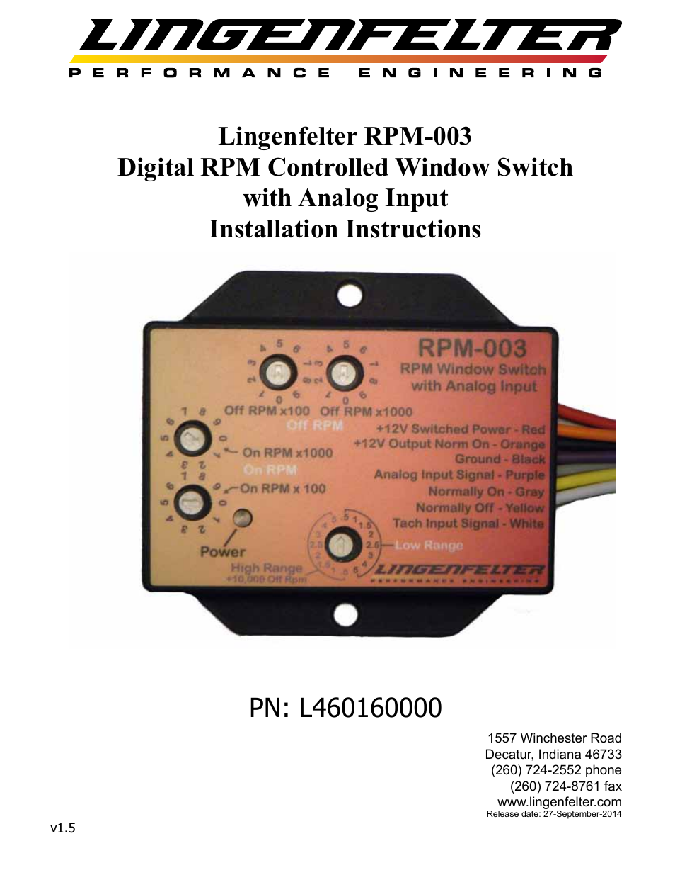 Lingenfelter L460160000 Lingenfelter RPM-003 RPM Activated Switch
