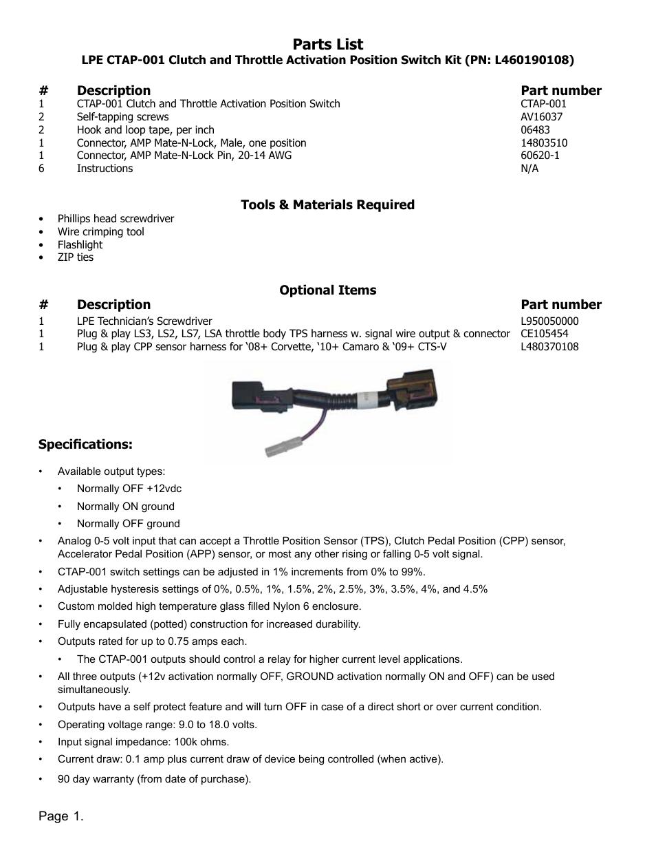 Parts list | Lingenfelter L460190108 Lingenfelter CTAP-001 Clutch