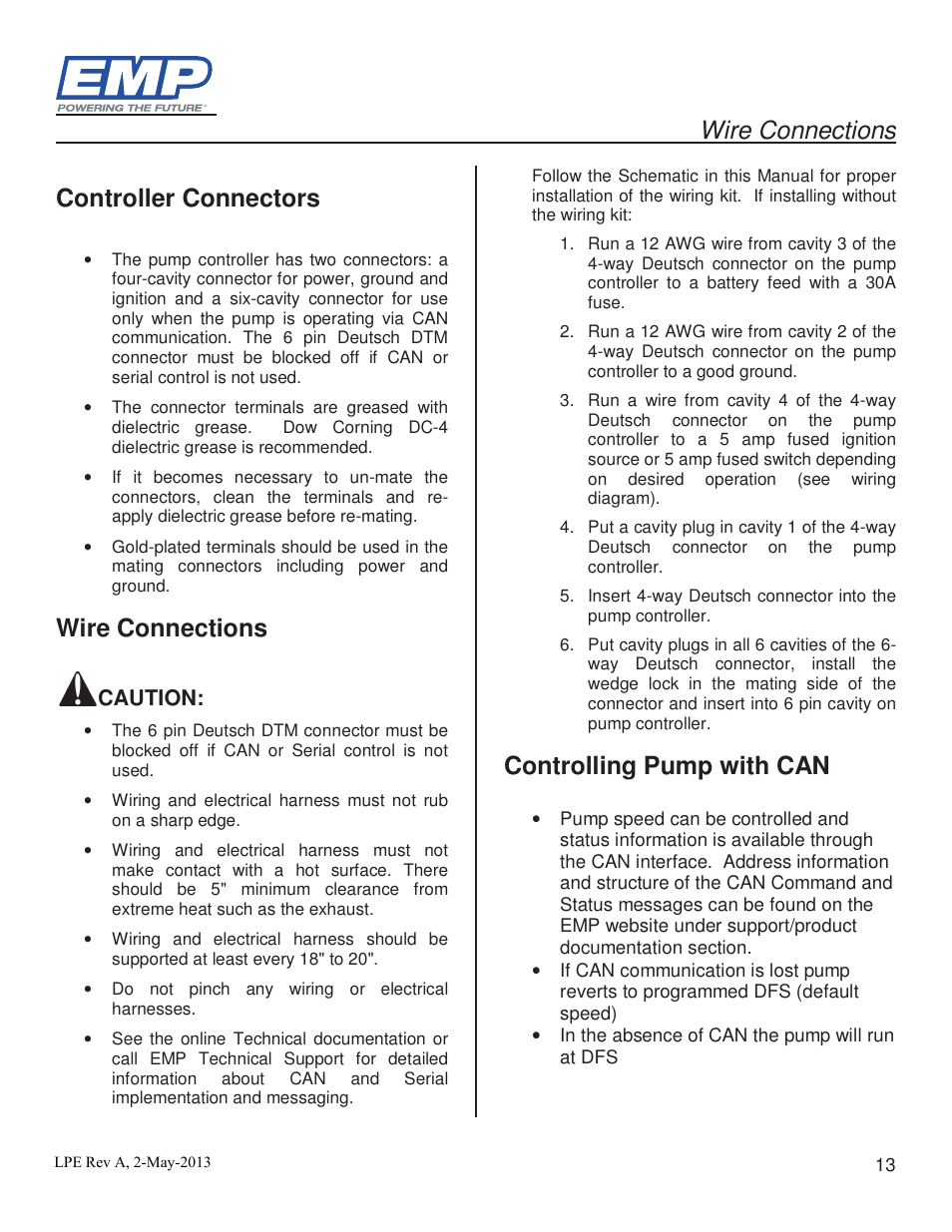 wire connections controller connectors controlling pump can wire connections controller connectors controlling pump can lingenfelter stewart emp high volume intercooler pump e2512a wp29 user manual page